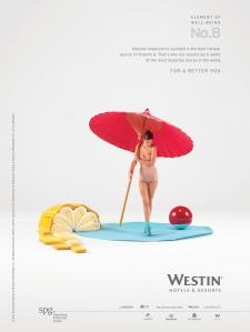 Annons från Westin med en kvinna under ett parasoll